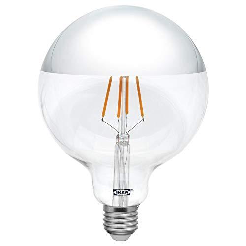 IKEA SILLBO Bombilla LED de filamento estilo Edison E27, 370 lúmenes, 125 mm, parte superior con espejo, color plateado