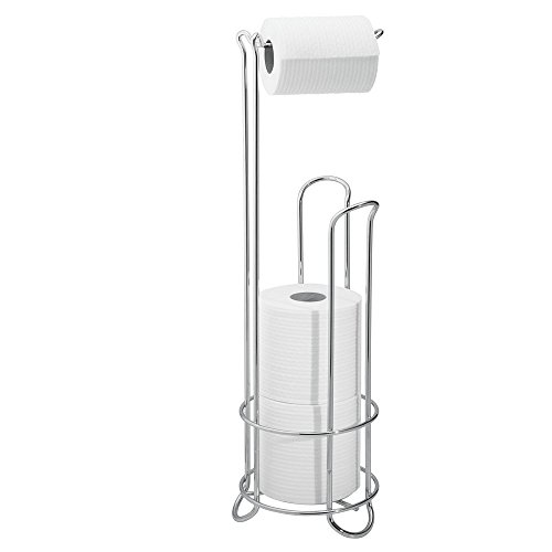 iDesign Klopapierhalter mit Ersatzrollenhalter, schmaler Toilettenpapierhalter stehend aus Metall, freistehender Toilettenpapierständer für insgesamt 4 Rollen, silberfarben
