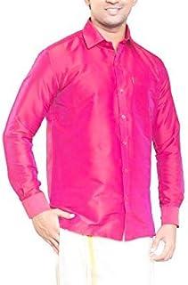 RIRO Focus Men's Plain Silk Cotton Traditional/Ceremony/Formal Full Sleeve Shirt,Pink