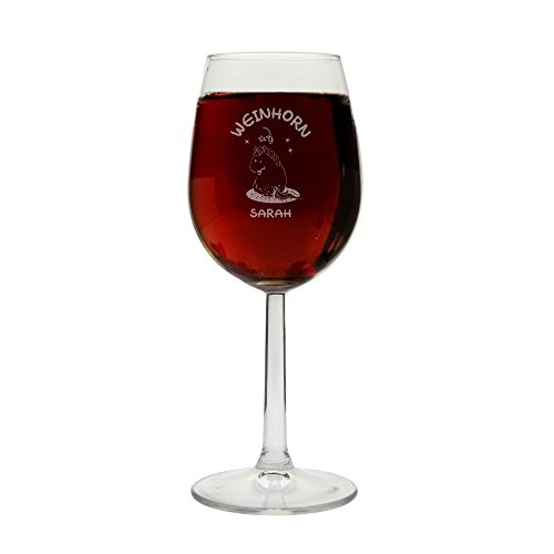 4you Design Weinglas Weinhorn - mit Personalisierung - mit Geschenkbox - Einhorn-Liebhaber - Wein-Liebhaber - Geschenkidee - Frau - Freundin - Unicorn (Weinglas mit Personalisierung)