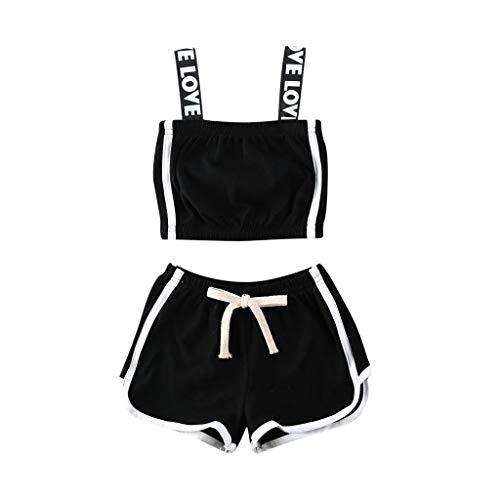 Kinder Baby Mädchen Sportanzug Outfits Kleidung Set Riemen T-Shirt Weste Camisole Sport Shorts Trainingsanzug Set, Schwarz, 4-5 Jahre