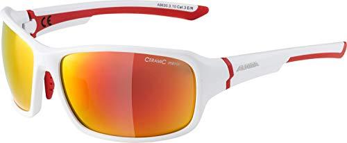 ALPINA Unisex - Erwachsene, LYRON Sportbrille, white red matt, One size