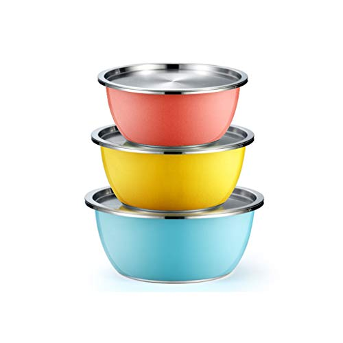 HAOXIANG Mixing Bowl Set 3 Pieces – Multi-Color Stainless Steel Nesting Kitchen Bowls with Steel Sealing Lid for Cooking Baking and Food Storage, Save Storage Space,22+24+26cm (with lid)