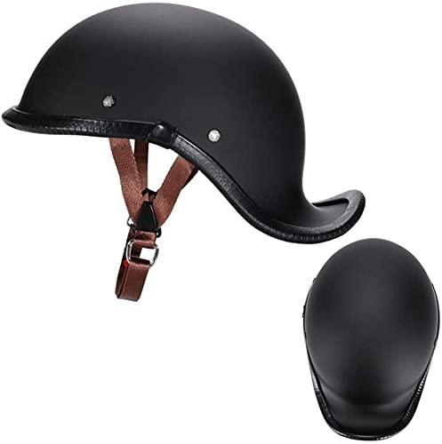 Casco de Motocicleta Vintage para Hombres y Mujeres, con Cara Abierta, tamaño Ajustable, Gorra de helicóptero de Crucero, Aprobado por el Dot (Color : Black, Size : X-Large)
