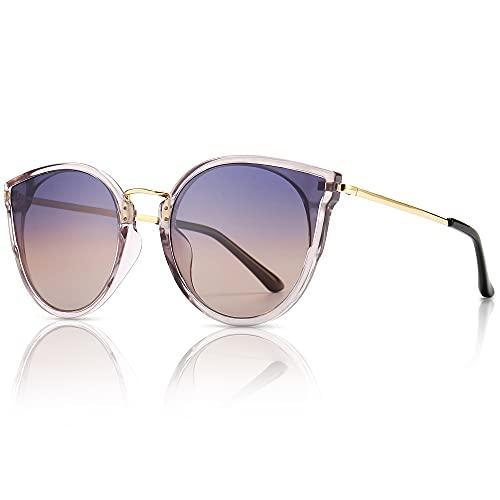SUNGAIT Mujeres Ojo de Gato Polarizadas Vintage de Gran Tamaño UV-Protección Gafas de Sol(Lente de Marco Gris Transparente/Degradado Púrpura)