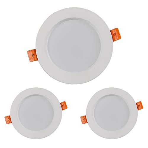 7W Faretti LED ad incasso Dimmerabile, set da 3, plafoniere da soffitto e per l'illuminazione da interno, Bianco Caldo 3000K, Rotondo, IP44, 230V, 550LM