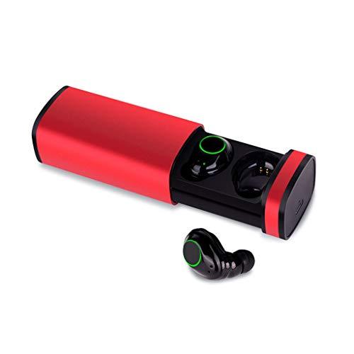 Yowablo Drahtloses Bluetooth 5.0-Sport-Headset Wasserdichtes und langlebiges Bass-Headset(rot)