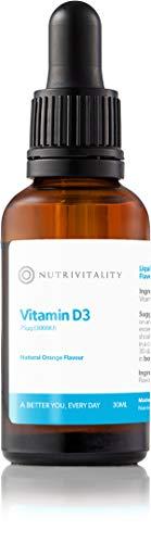 Nutrivitality Liquid Vitamin D3 (Dropper Bottle) - Highest Absorption, 3000IU, 30ml, 100 doses | Vegan, Vegetarian, Gluten Free | Calcium Uptake and Maintenance of Bones and Teeth |