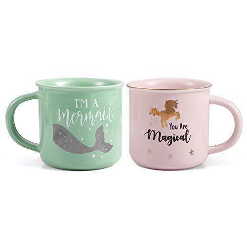 ROSA&ROSE PACK 2 TAZAS Regalo para Parejas 350ml Tazas de Café Taza Desayuno cerámica - Taza Aniversario Regalos de boda para parejas