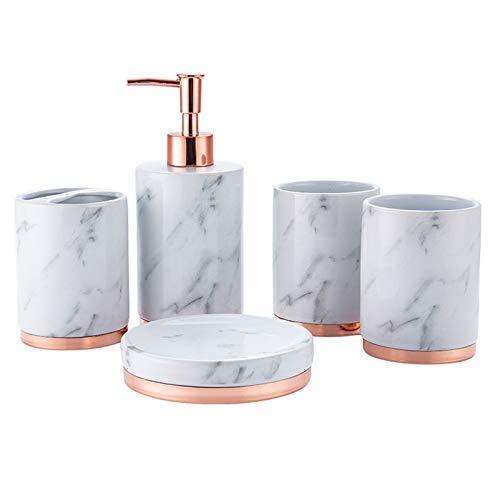 ZHZX Conjuntos de Accesorios de baño de 5 Piezas, Cerámica Creativa Conjunto de baño Suministros de baño Soporte de Cepillo de Dientes Dispensador de jabón Soporte de jabón Copa de Enjuague