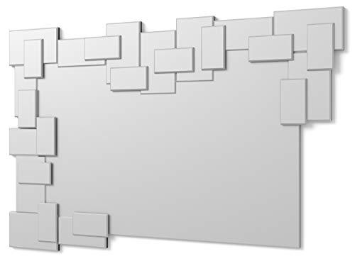 DekoArte E019 - Espejos Decorativos Modernos De Pared | Espejos Decoración para Tu Salón Dormitorio, Entrada, Recibidor | Espejos Sofisticados Grandes Rectangular Color Plata | 1 Pieza 120 x 80 cm