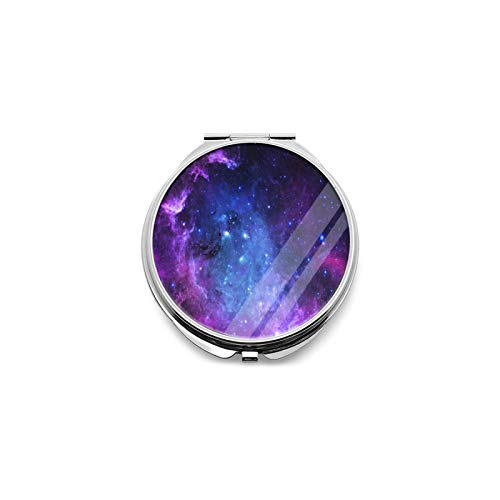 Best Travel Mirror Purple Blue Galaxy Star Space Round Magnifying Mirror Small Compact Mirror For Pocket, Portable Makeup Mirror, Foldable Travel Personal Mirror 1x & 2x Magnification
