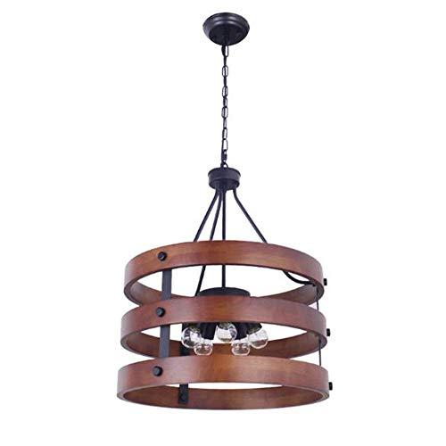 Keesai HomeDeco industriële retro vintage hanglampen, kroonluchter, ronde houten hanglamp voor eettafel, E27 5-pits hanglamp kroonluchter voor eetkamer, slaapkamer en woonkamer