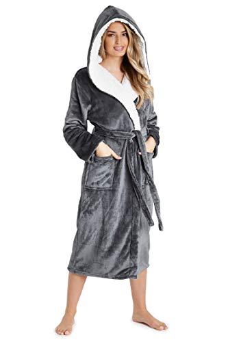CityComfort Luxus Bademantel Damen Super Soft Robe mit Fell gefütterte Kapuze Plüsch Bademantel für Frauen (M, dunkelgrau)