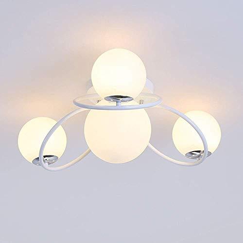 Indoor Kronleuchter 4 Lampenfassung Wohnzimmer Deckenleuchte, moderne runde Glas Lampenschirm Deckenleuchte, eingebettete schmiedeeiserne Kronleuchter Beleuchtung, Schlafzimmer Hotel * 4