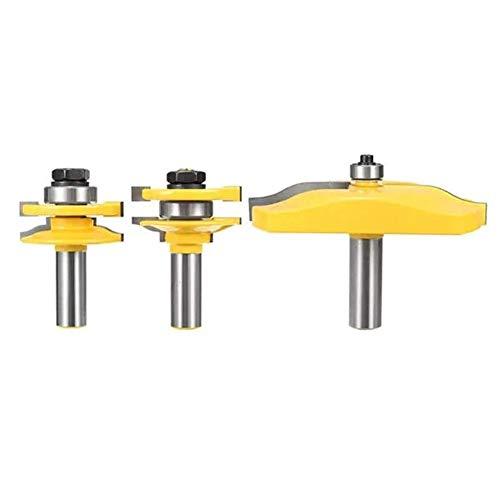 ZUQIEE Taladro, Perforar la caña Router bit Rail Stile y el Panel de Raiser carpintería Cortador 3pcs 1/2 Pulgada Accesorios del Taladro