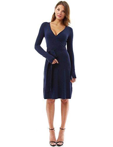 PattyBoutik Damen Strickkleid, langärmlig mit V-Ausschnitt und Gürtel (dunkelblau M 40)