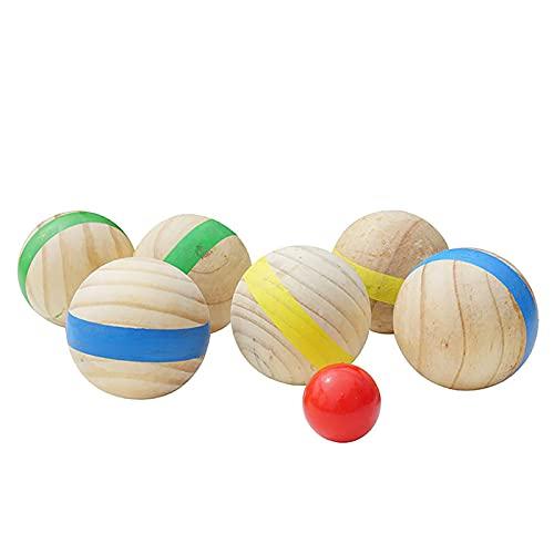 KAKINA Bolas de Petanca, Bola de Madera Juego de Petanca Bochas de Madera 6 Bolas de Madera Natural Diversión Informal Deportes recreativos al Aire Libre