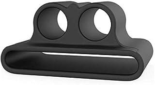 حافظة محمول مضاد للضياع من السيليكون مع حامل ساعة وسوار لأبل ايربودس وملحقاتها - أسود