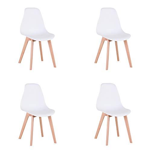 N / A Pack de 4 sillas Retro Comedor, sillas de diseño nórdico con Patas en Madera Maciza, sillas para Sala de Estar, Cocina, Oficina (Blanco)