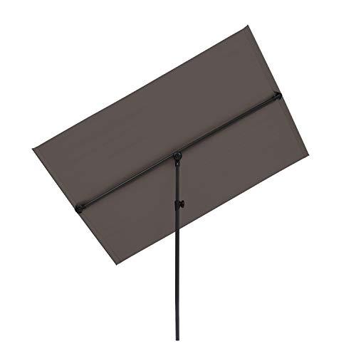 blumfeldt Flex-Shade - Parasol de Jardin extérieur rectangulaire, Inclinable, Polyester, Anti UV50, Pied en Aluminium, Imperméable, Balcon-Terrasse, 150 x 210 cm - Gris foncé