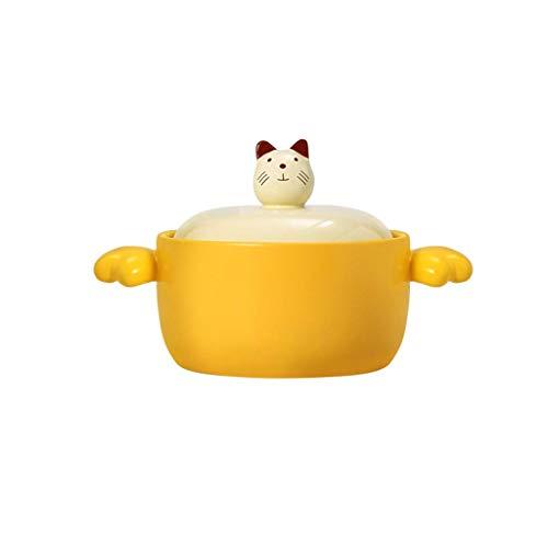 JiangKui Soup Pot Stew Pot Stock Pot Ceramic Nonstick Saucepan with Lid Non Toxic Nonstick Pot with Lid & Dishwasher Safe CeramicYellow
