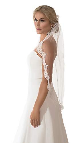 Unbekannt Schleier Brautschleier 1 Lage mit Kamm Strass Perlen Umrandung Hochzeit Braut Weiß Ivory 90 cm (Ivory/Elfenbein)