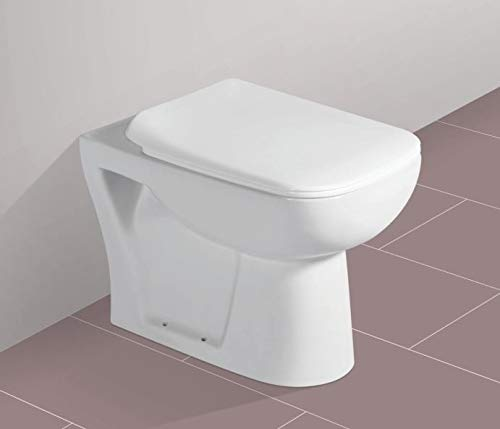 Ceramic Floor Mounted European Water Closet/Western Toilet Commode/EWC S Trap with Slim Hydraulic Soft Close Seat Cover 54cm x 35cm x 41cm - White