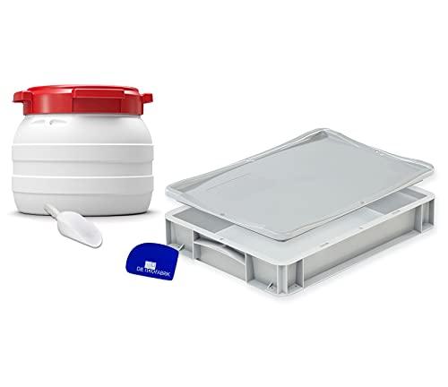 Komplett Set: Pizzaballenbox (40x30x7cm) + Mehlbehälter 10 Liter, inkl. Teigschaber und Mehlschaufel, Kunststoffbehälter für Pizzateig und Mehlfass, Gärbox, Teigbox, Box mit Deckel und Fass