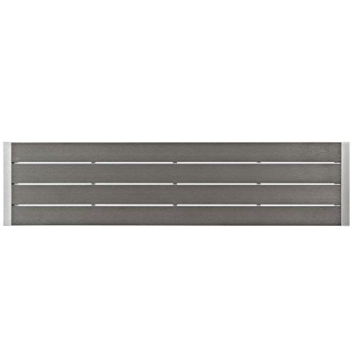 Modway Shore Aluminum Outdoor Patio Bench in Silver Gray
