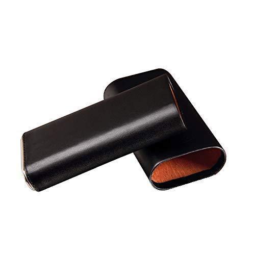 3 Cigar Case Black Leather Cigar Case with Interior Cedar Lining