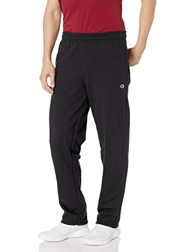 Champion mens Powerblend Open Bottom Fleece Pants, Black, XX-Large US