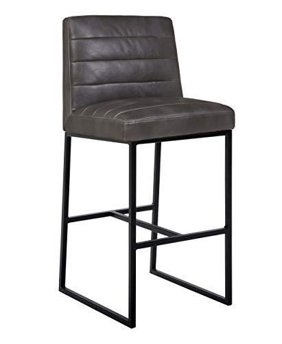 Amazon Brand – Rivet Decatur Modern Faux Leather Kitchen Bar Stool, 41'H, Grey
