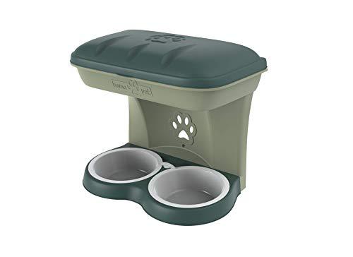 Dubbele schaal voor honden, bevestiging aan de muur food stand met vak voor voorwerpen, uitneembare schalen van buxuswater kleur groen bama pet dog