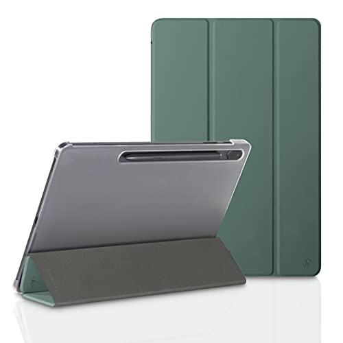 Hama Funda para Samsung Galaxy Tab S7 FE/S7+ 31,5 cm 12,4 Pulgadas (Funda con Tapa para Samsung Tablet, Funda con función Atril, Parte Trasera Transparente, Cubierta magnética), Color Verde