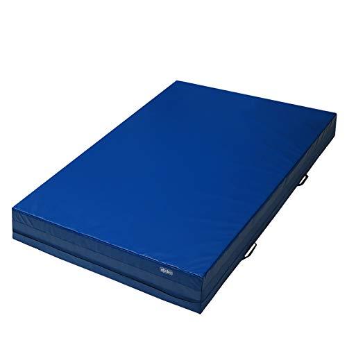 ALPIDEX Weichbodenmatte Matte Turnmatte Fallschutz 200 x 100 x 25 cm mit Anti-Rutschboden und Tragegriffen, Farbe:dunkelblau