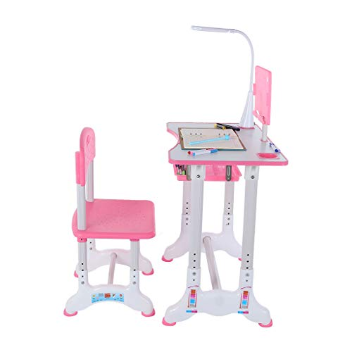 Sunskyi Kids Study Desk and Chair Set, Height Adjustable Table & Chair Drawing Set with Bookstand and Drawer, Ergonomic Student Writing Desk for Studying, Reading and Drawing (Pink)
