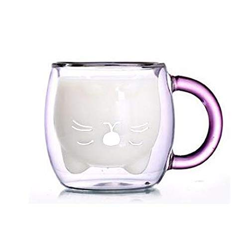 Süße tassen KaffeeTeegläser Trinkgläser Kaffeeglas Doppelwandige IsoliergläserEspressotasse Bär Katze Becher (Lila Katze)