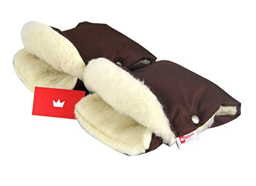 BABYLUX MUFF Handmuff PLÜSCH/WOLLE Handwärmer für Kinderwagen Buggy Handschuh 2 Stück (15. Braun + Lammwolle)