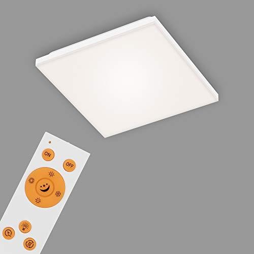 Briloner Leuchten - LED Panel, LED Deckenlampe dimmbar, rahmenlos, Farbtemperatursteuerung, inkl. Fernbedienung, 12 Watt, 1.600 Lumen, Weiß, 295x295x70mm (LxBxH)