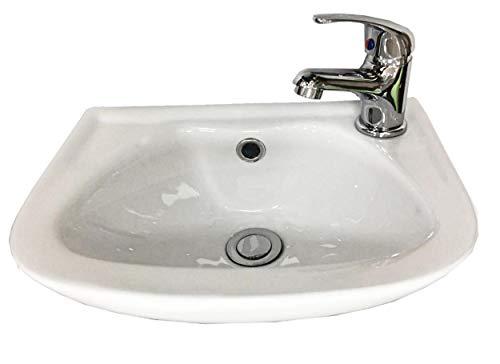 Housler compacte badkamer wastafel muur gemonteerd met mixer kraan en afval, 360mm breed x250mm diep