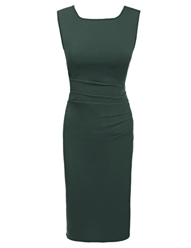 Parabler Damen Rundhalsausschnitt Wickelkleid Bleistiftkleid Etuikleid Ärmellos Knielang Abendkleid Business Kleid (Grün, Medium)