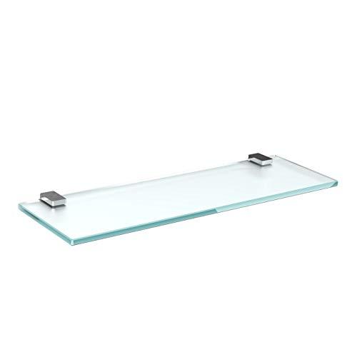 Glasregal Glasablage Wandregal Glas Bad-Regal Glas Badezimmer Regal Badablage Ablageregal - 8mm Hartglas, 90 x 12 cm, Milchglas + Halterung H - Chrom Glanz Optik