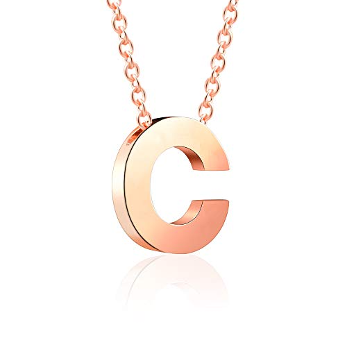 VU100 Initial C Letter Necklace Rose Gold Stainless Steel Alphabet Pendant Minimalist Jewellery for Women Girls