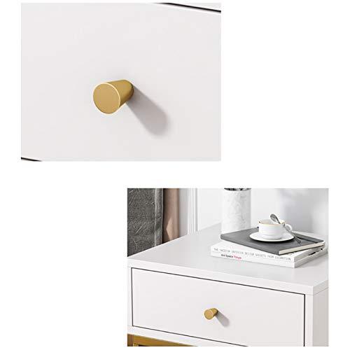 EVFIT Mesa de centro de ocio moderna mesita de noche con cajón para dormitorio, sala de estar, espacio pequeño con estante abierto marco de metal dorado (color: blanco, tamaño: 45 x 40 x 50 cm)