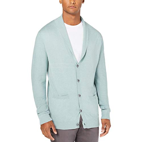 Tasso Elba Mens Pallo Button-Up Shawl Cardigan Sweater Green 3XL