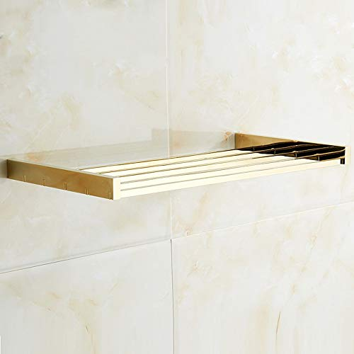 Great Features Of LifxX Luxury Hanging Gold Storage Shower Holder Copper Hollow Bathroom Storage She...