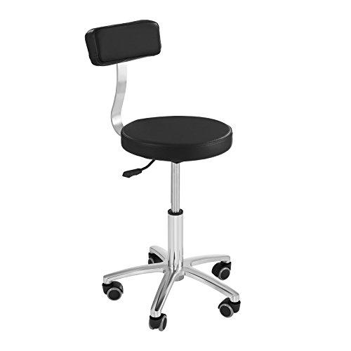 Physa Terni Black Arbeitsstuhl mit Rückenlehne Drehstuhl mit Rollen (Höhenverstellbar 44,5–58 cm, Stahlgestell, Eco-Leder) Schwarz