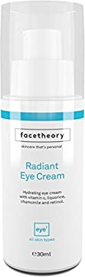Facetheory Eye Cream with Chamomile, Vitamin C, Liqourice and Retinol. Brightens Tired Eyes, Lightens Dark Circles and Lifts and Plumps Eye Bags.