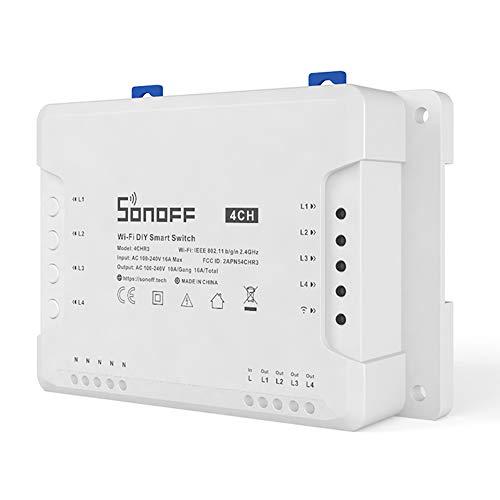 Katerk Interruptor de circuito WiFi, CH PRO R3 ITEAD 4-Gang Wi-Fi interruptor inteligente con aplicación de control RF sincronización 3 modos de trabajo